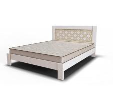 Оригінальне дерев'яне ліжко «Барселона» з різьбленою спинкою