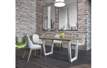 Бінго - сучасний стіл з дерева з металевими опорами 160 на 80 см(Loft)