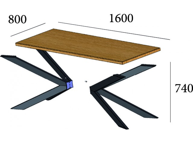 Ікс розбірний - стіл обідній зі стільницею ДСП 80+160 см