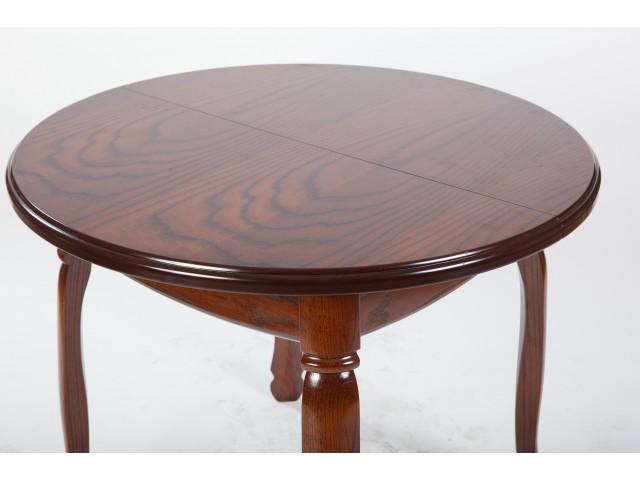 Стіл обідній круглий дерев'яний розкладний «Гаїті» (масив дуба) 90(+30)см