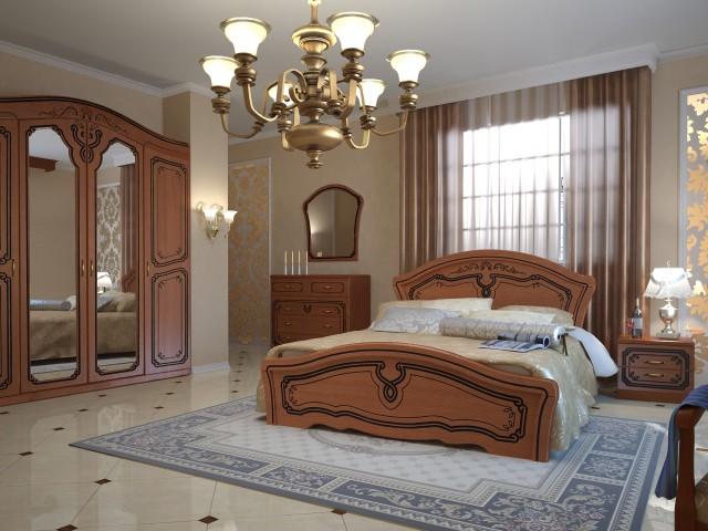 Ліжко дерев'яне одно/двоспальне Альба (МДФ)