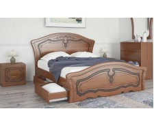Ліжко дерев'яне одно/двоспальне Альба з висувними ящиками (МДФ)