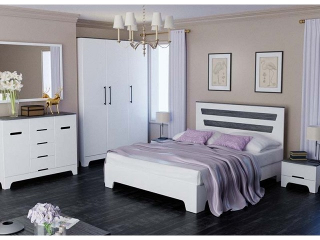 Ліжко дерев'яне двоспальне Елен (МДФ)