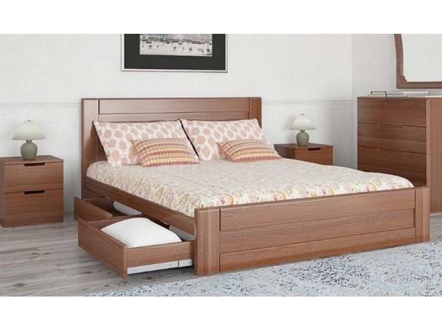 Ліжко дерев'яне одно/двоспальне Кармен з висувними ящиками (МДФ)