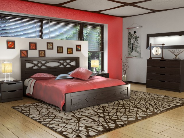 Ліжко дерев'яне одно/двоспальне Ліана (МДФ)