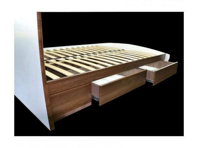Ліжко дерев'яне одно/двоспальне Ліана з висувними ящиками (МДФ)