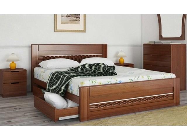 Ліжко дерев'яне одно/двоспальне Соломія з висувними ящиками (МДФ)