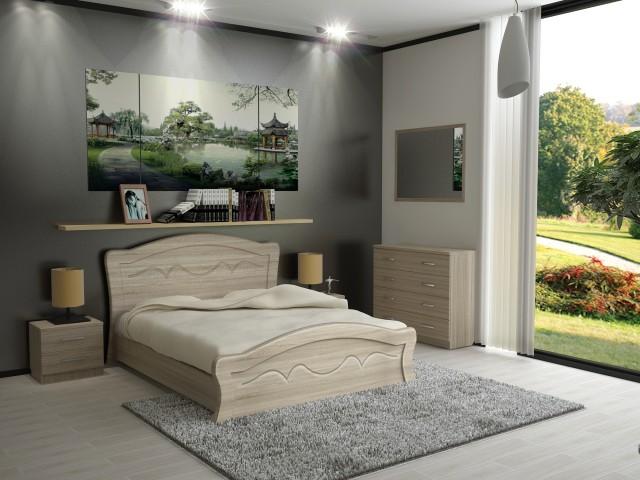 Ліжко дерев'яне одно/двоспальне Віолетта (МДФ)