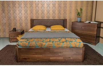 Ліжко дерев'яне двоспальне Грейс (Grace) (Бук, щит) з ящиками / підйомним механізмом