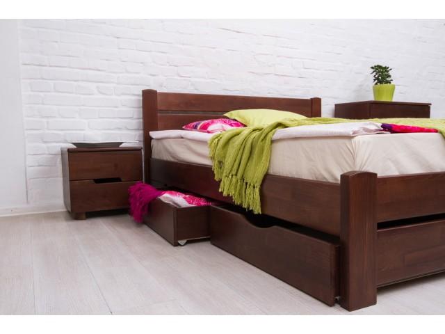 Ліжко дерев'яне двоспальне Айріс (Iris) з висувними ящиками (Бук, щит)