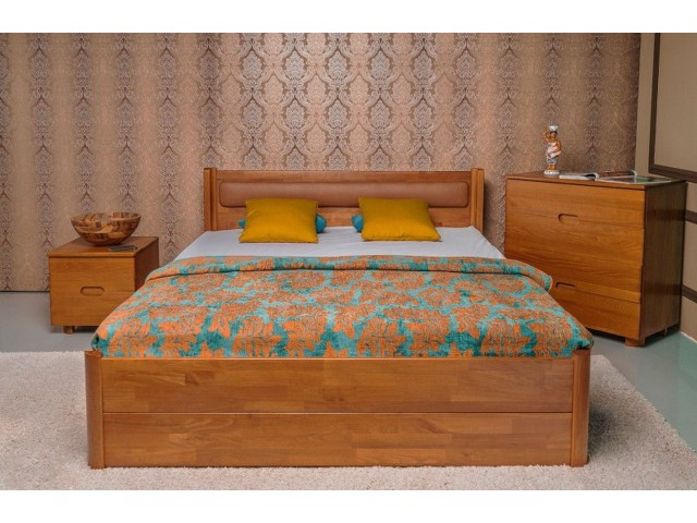 Ліжко дерев'яне двоспальне Марго М'яка Спинка з висувними ящиками (Бук, щит)