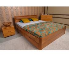 Ліжко дерев'яне двоспальне Марго М'яка (Margo) з висувними ящиками (Бук, щит)
