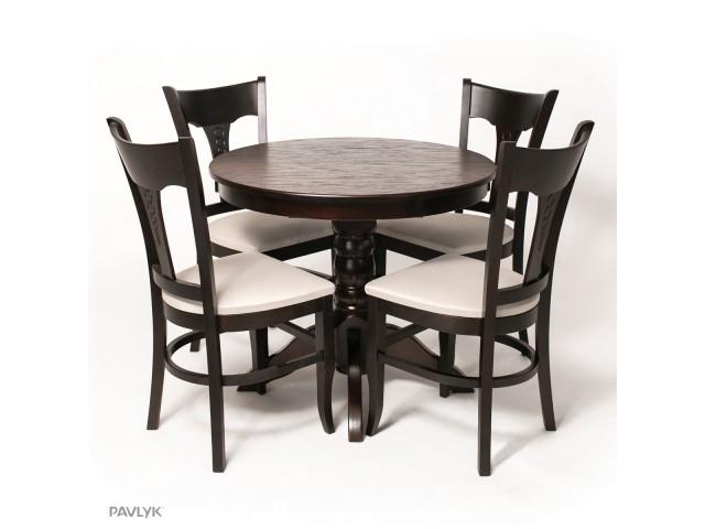 """Дерев'яний стіл """"Гостинний"""" Круглий (бук) 90+40 см"""