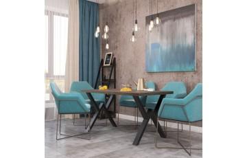 Віннер - стильний обідній стіл сучасного дизайну з дерева та металу 160+80 ( Метал Дизайн)