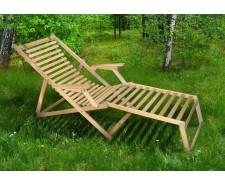 Розкладне дерев'яне крісло шезлонг Пікнік з підніжкою