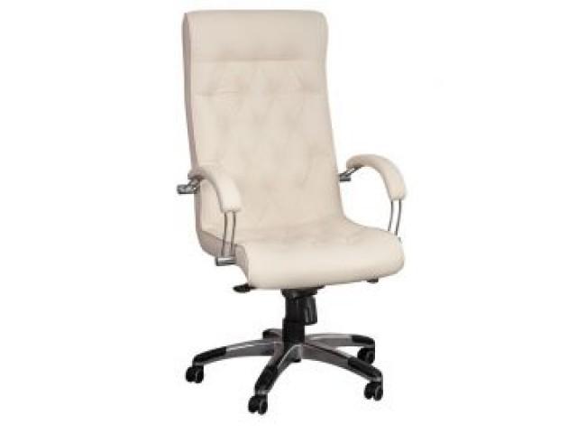 Кресло Бристоль HB Хром Механизм Anyfix Кожа Люкс комбинированная Белая