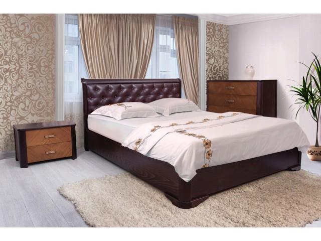 Ліжко дерев'яне м'яке двоспальне Ассоль ромби з підйомним механізмом (м'яке узголів'я) 160х200см Венге