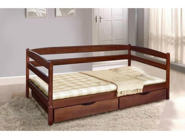 Ліжко дитяче дерев'яне односпальне Єва (Бук) з ящиками для білизни