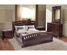 Ліжко дерев'яне двоспальне Флоренція (масив дуба) 160х200см Каштан патина