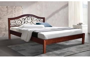 Ліжко дерев'яне двоспальне Ілона (Вільха), 160*200 см, узголів'я 91 см