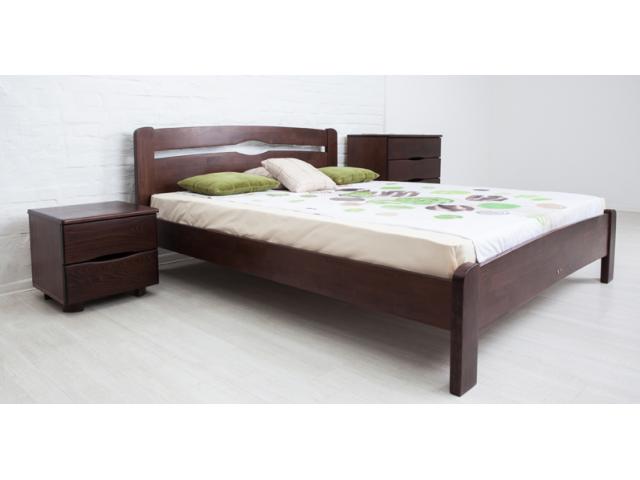 Ліжко дерев'яне односпальне / полуторне / двоспальне Кароліна (Бук) без узніжжя