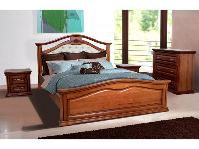Ліжко дерев'яне двоспальне Маргарита (Вільха), 160*200 см