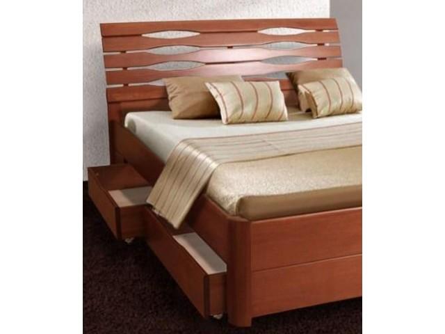 Ліжко дерев'яне полуторне / двоспальне Марія Люкс (Бук) з 4-ма ящиками