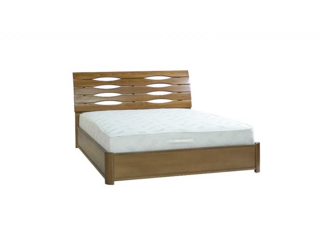 Ліжко дерев'яне полуторне / двоспальне Марія (Бук) з підйомним механізмом