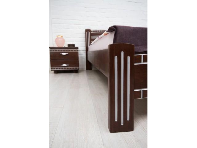 Ліжко дерев'яне двоспальне Пальміра (буковий щит) 160х200см Горіх темний патина