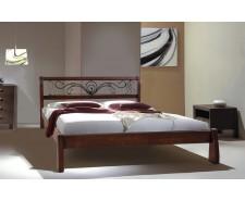 Ліжко дерев'яне двоспальне Ретро з ковкою (Вільха), 160*200 см,  узніжжя 58 см