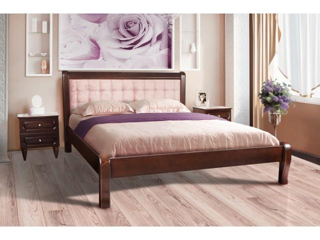 Ліжко дерев'яне двоспальне Соната (буковий щит) 160х200см Темний горіх