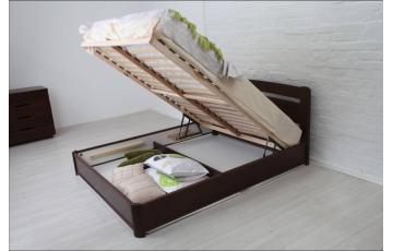 Ліжко дерев'яне  полуторне / двоспальне Кароліна (Бук) з підйомним механізмом
