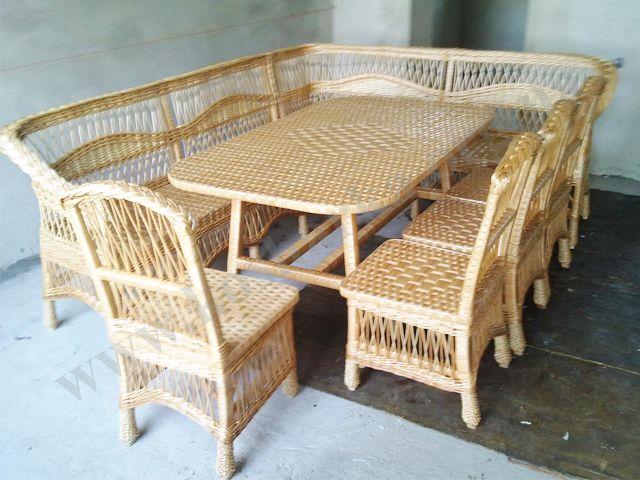 Кутовий диван плетений з лози