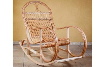 Крісло качалка плетене з лози Королівське (дерев'яний каркас)