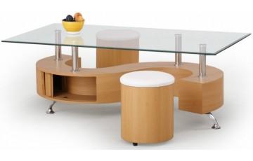 Журнальний столик скляний з пуфами Halmar NINA