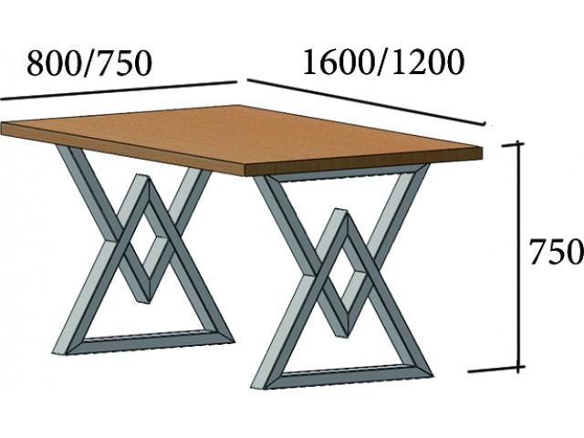 Астон - сучасний ЛОФТ обідній стіл з дерева та металу (Loft)